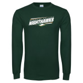Dark Green Long Sleeve T Shirt-Nighthawks Stencil Design