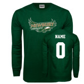 Dark Green Long Sleeve T Shirt-Primary Mark, Custom Tee w/ Name and #