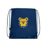 Nylon Navy Drawstring Backpack-Bulldog Head