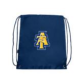 Nylon Navy Drawstring Backpack-AT