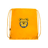 Nylon Gold Drawstring Backpack-Bulldog Head