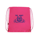 Pink Drawstring Backpack-NC A&T Aggies