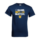 Navy T Shirt-Tennis Game Set Match