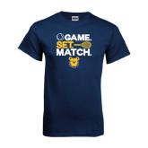 Navy T Shirt-Tennis Game Set Match