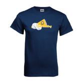 Navy T Shirt-Cheerleading Megaphone & Pom Poms
