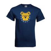 Navy T Shirt-Bulldog Head