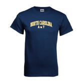 Navy T Shirt-Arched North Carolina A&T