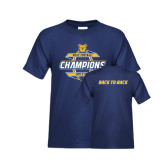 Youth Navy T Shirt-Back-To-Back MEAC Football Champions - Front Graphic