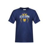 Youth Navy T Shirt-Basketball in Ball