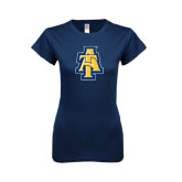 Next Level Ladies SoftStyle Junior Fitted Navy Tee-AT