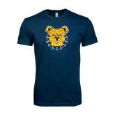 Next Level SoftStyle Navy T Shirt-Bulldog Head