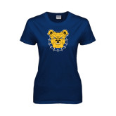 Ladies Navy T Shirt-Bulldog Head