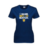 Ladies Navy T Shirt-Tennis Game Set Match