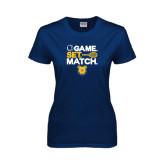 Ladies Navy T Shirt-Tennis Game Set Match