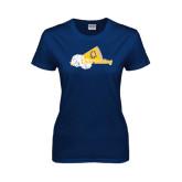 Ladies Navy T Shirt-Cheerleading Megaphone & Pom Poms