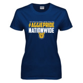 Ladies Navy T Shirt-#AggiePride Nationwide