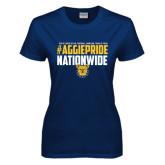 Ladies Navy T Shirt-#AggiePride Nationwide
