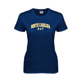 Ladies Navy T Shirt-Arched North Carolina A&T