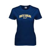 Ladies Navy T Shirt-Arched North Carolina A&T