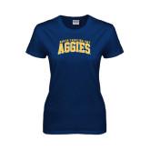 Ladies Navy T Shirt-Arched North Carolina A&T Aggies