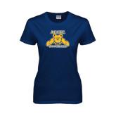 Ladies Navy T Shirt-Football