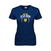 Ladies Navy T Shirt-Basketball in Ball