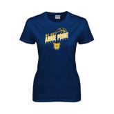 Ladies Navy T Shirt-Basketball Pride