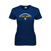 Ladies Navy T Shirt-Arched Football