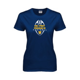 Ladies Navy T Shirt-Tall Football