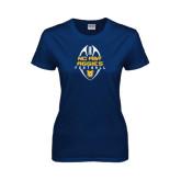 Ladies Navy T Shirt-Tall Football