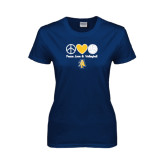 Ladies Navy T Shirt-Peace Love Volleyball