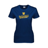 Ladies Navy T Shirt-Volleyball Can You Dig It