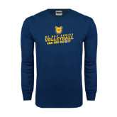 Navy Long Sleeve T Shirt-Volleyball Can You Dig It