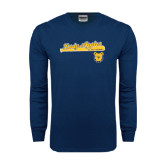 Navy Long Sleeve T Shirt-Softball Script on Bat