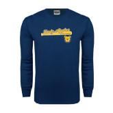 Navy Long Sleeve T Shirt-Softball Script on Bat