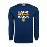 Navy Long Sleeve T Shirt-Tennis Game Set Match