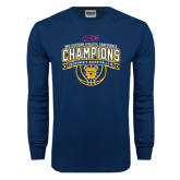 Navy Long Sleeve T Shirt-2016 MEAC Champions Womens Basketball
