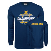 Navy Long Sleeve T Shirt-Back-To-Back MEAC Football Champions - Front Graphic