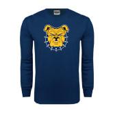 Navy Long Sleeve T Shirt-Bulldog Head