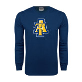 Navy Long Sleeve T Shirt-AT