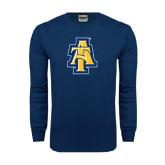 Navy Long Sleeve T Shirt-AT