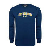 Navy Long Sleeve T Shirt-Arched North Carolina A&T