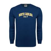Navy Long Sleeve T Shirt-Arched North Carolina A&T