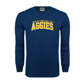 Navy Long Sleeve T Shirt-Arched North Carolina A&T Aggies