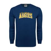 Navy Long Sleeve T Shirt-Arched North Carolina A&T Aggies