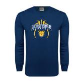 Navy Long Sleeve T Shirt-Basketball in Ball