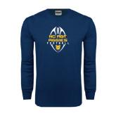 Navy Long Sleeve T Shirt-Tall Football