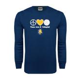 Navy Long Sleeve T Shirt-Peace Love Volleyball