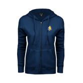 ENZA Ladies Navy Fleece Full Zip Hoodie-AT