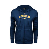 ENZA Ladies Navy Fleece Full Zip Hoodie-Arched North Carolina A&T